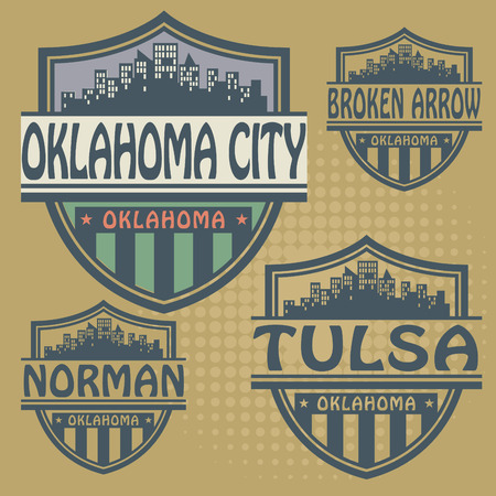 oklahoma: Stamp or label set with names of Oklahoma cities