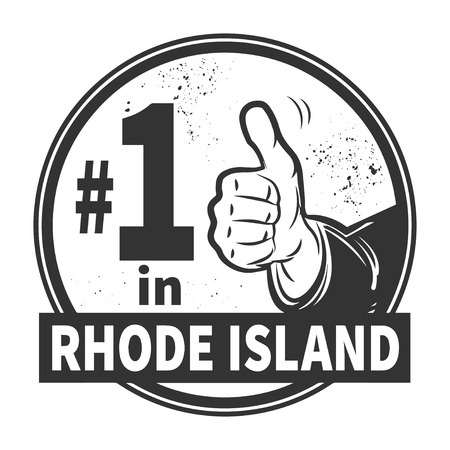 Abstract grunge rubber stamp or label with text Number One in Rhode Island written inside Vector