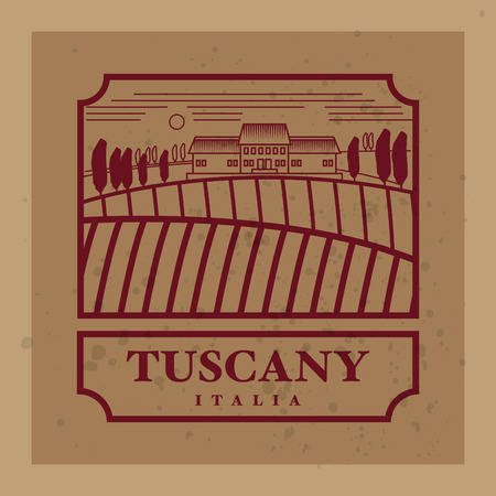 tuscany landscape: Rural landscape with fields and hills with the text Tuscany, Italia Illustration