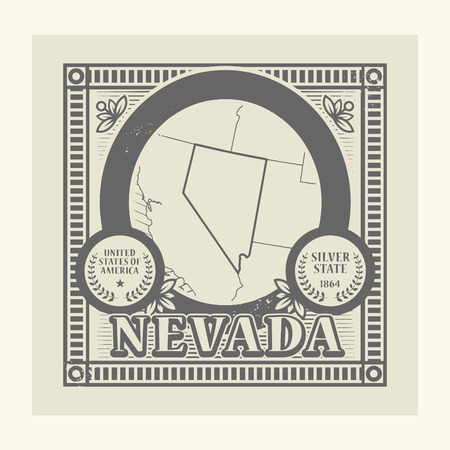 Grunge rubber stamp with name and map of Nevada, USA Vector