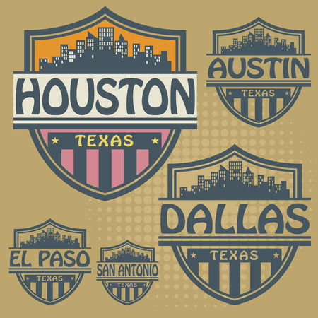 Stamp or label set with names of Texas cities Vector