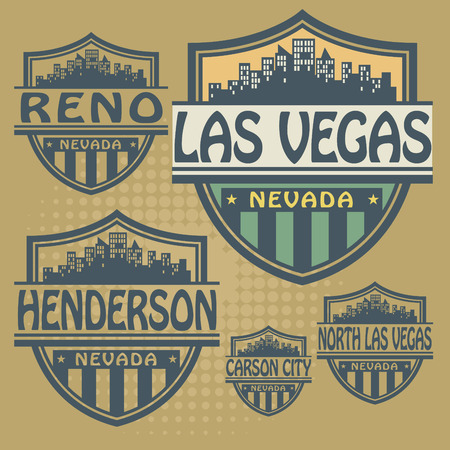 Stamp or label set with names of Nevada cities Vector