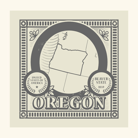 pacific northwest: Grunge rubber stamp with name and map of Oregon, USA