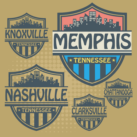 Stamp or label set with names of Tennessee cities Vector