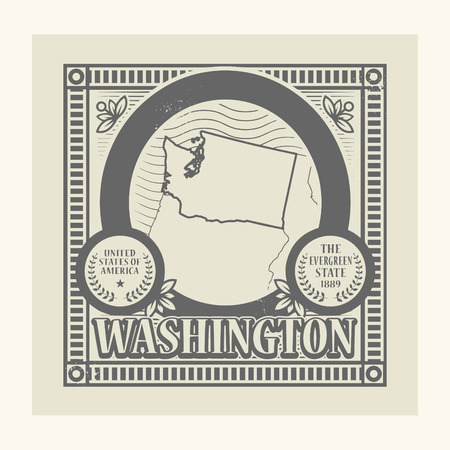 Grunge rubber stamp with name and map of Washington, USA