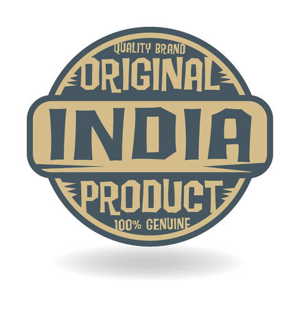 map of india: Abstract stamp with text Original Product of India Illustration
