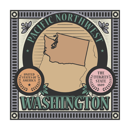 pacific northwest: Stamp or label with name and map of Washington, USA