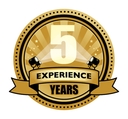 Label with the text 5 Years Experience written inside Vector
