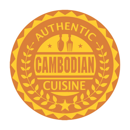 Abstract stamp or label with the text Authentic Cambodian Cuisine written inside Illustration