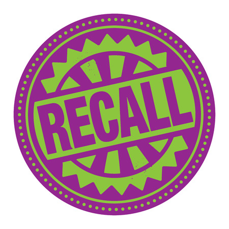 recall: Abstract stamp or label with the text Recall written inside Illustration
