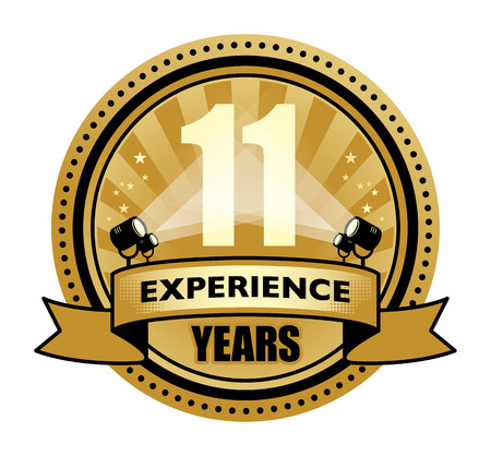 11 years: Label with the text 11 Years Experience written inside