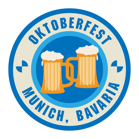 Stamp with beer mugs and the text Oktoberfest written inside the stamp
