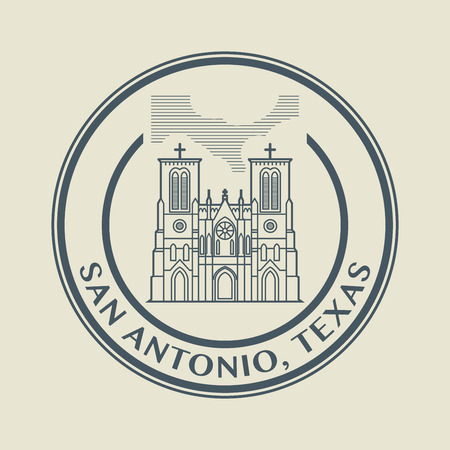 Stamp with name of Texas, San Antonio Vector
