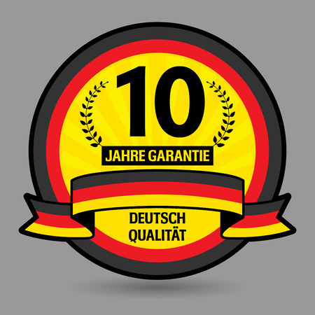 Label with the text 10 years guarantee written inside Vector