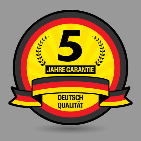 Label with the text 5 years guarantee written inside Vector