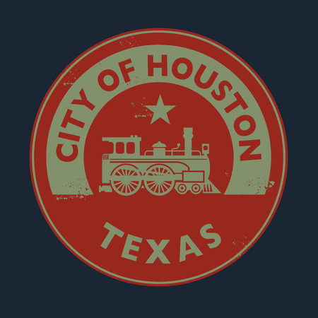 houston: Grunge rubber stamp with name of Texas, Houston