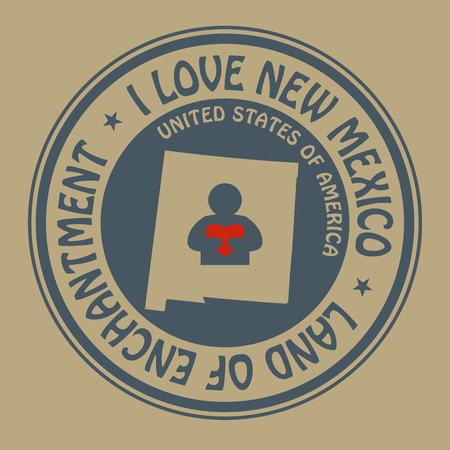 Stamp with text I Love New Mexico inside Vector