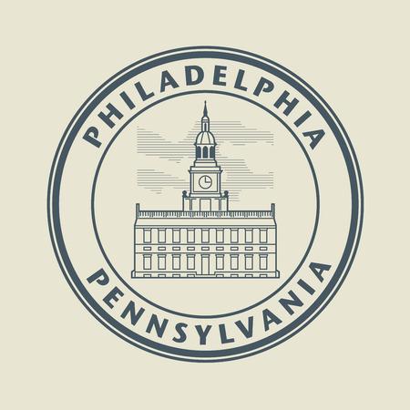 philadelphia: Stamp with name of Pennsylvania, Philadelphia Illustration