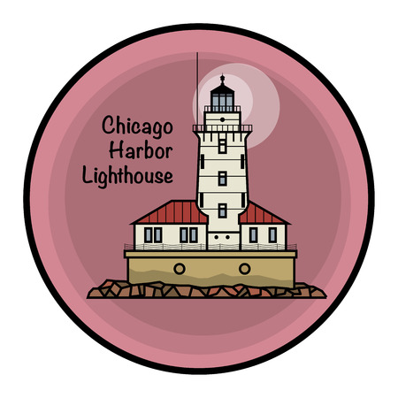 Chicago Harbor Lighthouse Vector