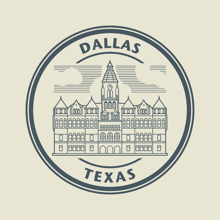 courthouse: Stamp with name of Texas, Dallas Illustration