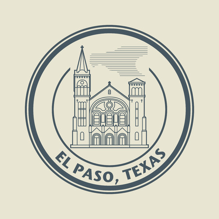 Stamp with name of Texas, El Paso Vector