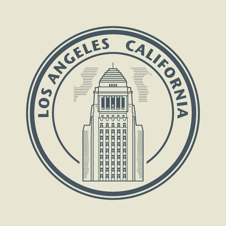 Stamp with text Los Angeles, California inside Illustration