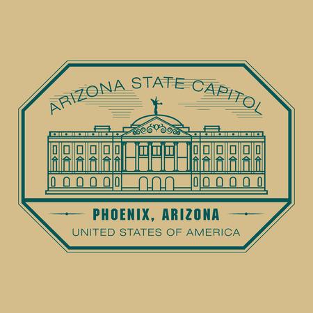 capitol: Stamp with name of Arizona, Phoenix Illustration