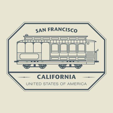 カリフォルニア州 San Francisco の名前であるスタンプします。  イラスト・ベクター素材