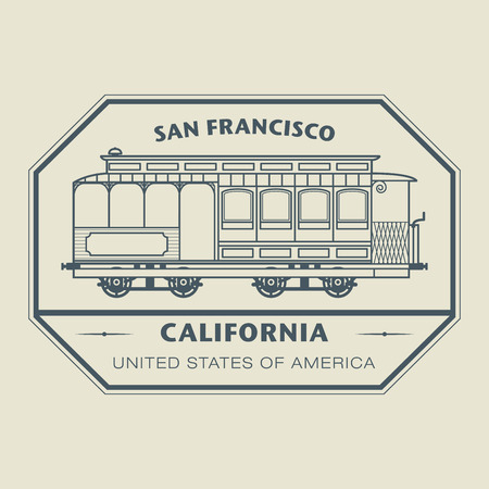 Stamp with name of California, San Francisco Vector