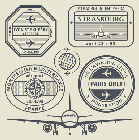 airport arrival: Travel stamps set