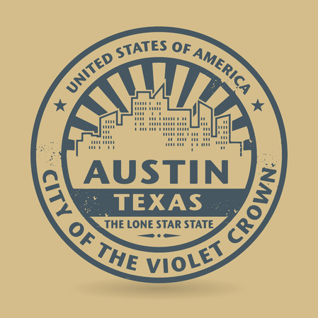 austin: Grunge rubber stamp with name of Austin, Texas