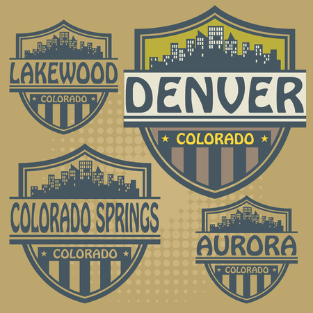 Label set with names of Colorado cities Vector