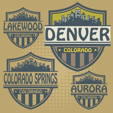 colorado springs: Label set with names of Colorado cities Illustration