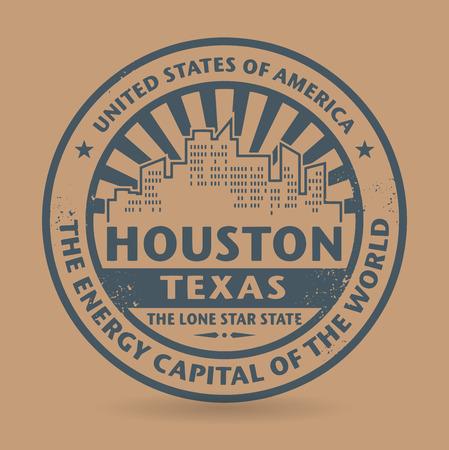 houston: Grunge rubber stamp with name of Houston, Texas