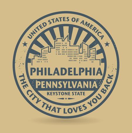 philadelphia: Grunge rubber stamp with name of Philadelphia, Pennsylvania Illustration