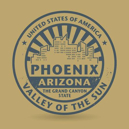 arizona: Grunge rubber stamp with name of Phoenix, Arizona