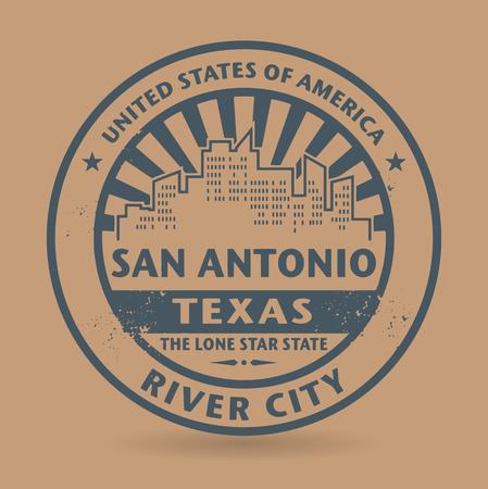 Grunge rubber stamp with name of San Antonio, Texas 일러스트