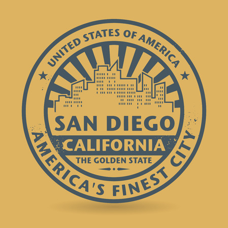 san diego: Grunge rubber stamp with name of San Diego, California Illustration
