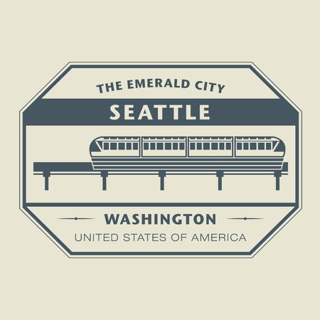 Stamp with name of Washington, Seattle Vector