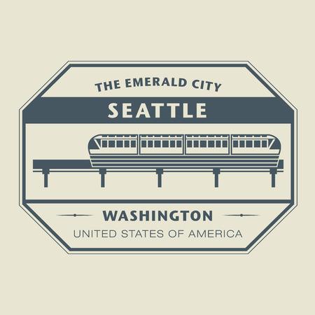 Stamp with name of Washington, Seattle Illustration
