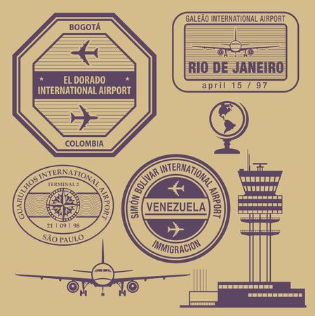 Travel stamps set Vector
