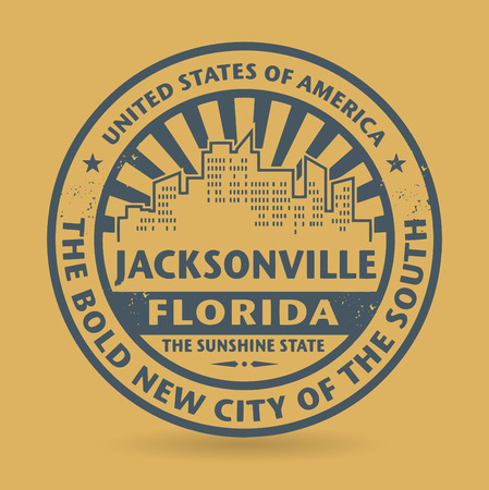 jacksonville: Grunge rubber stamp with name of Jacksonville, Florida Illustration