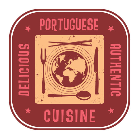 Abstract stamp or label with the text Delicious, Authentic Portuguese Cuisine written inside Ilustração