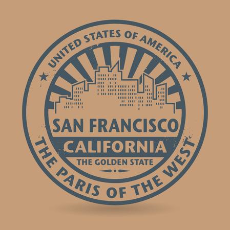 カリフォルニア州 San Francisco の名前とグランジ ゴム印  イラスト・ベクター素材