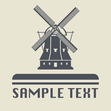 abstract mill: Windmill icon or sign