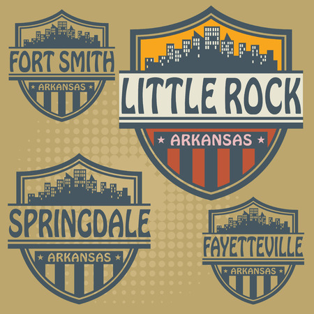 Label set with names of Arkansas cities Vector