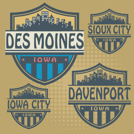 davenport: Label set with names of Iowa cities Illustration
