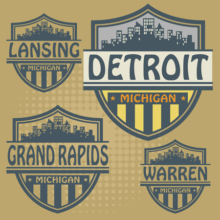 grand rapids: Label set with names of Michigan cities Illustration