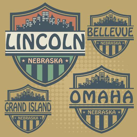 Label set met namen van Nebraska steden