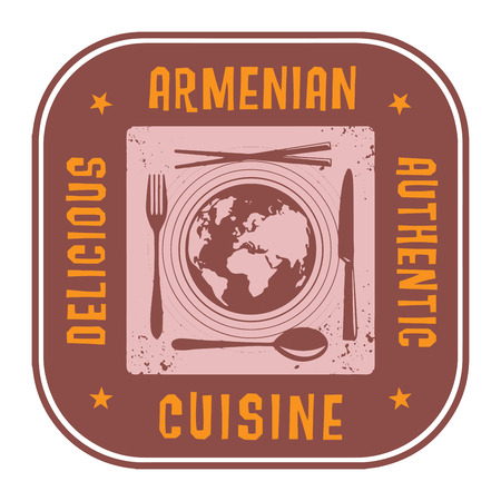 armenian: Abstract stamp or label with the text Authentic Armenian Cuisine written inside Illustration
